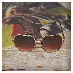 Gold Heart Shaped Sunglasses